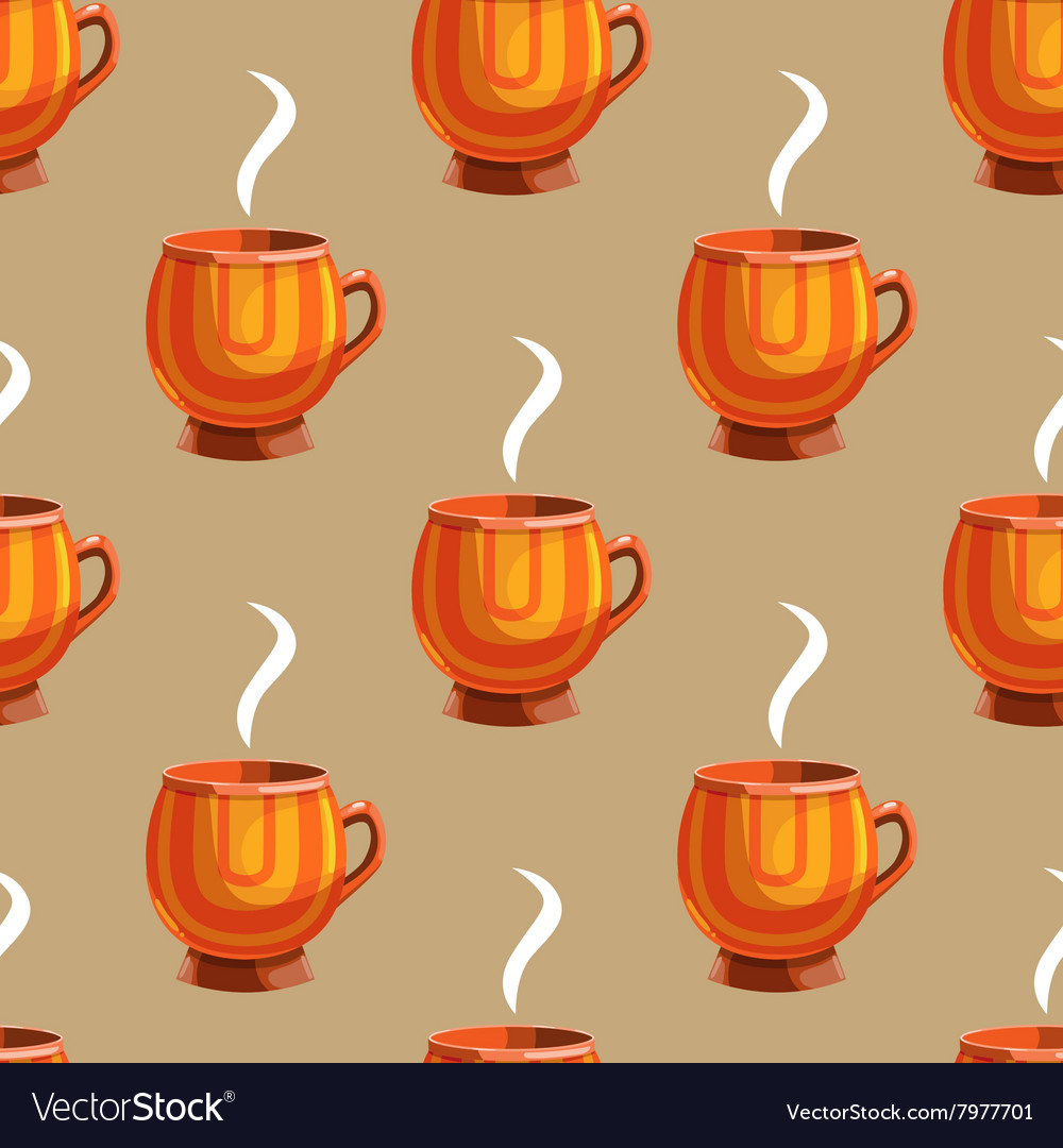 Seamless pattern with cartoon mugs9 vector