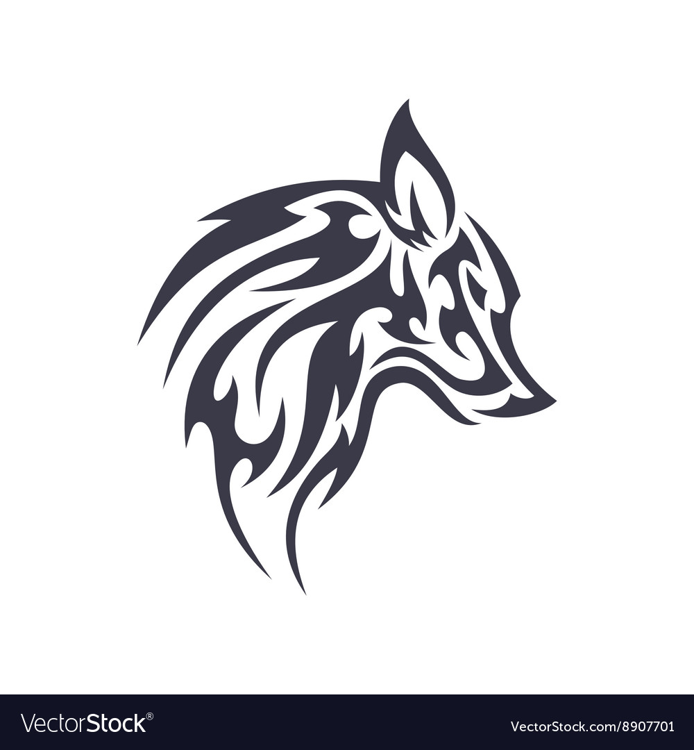 Tattoo wolf animal logo for unique modern vector