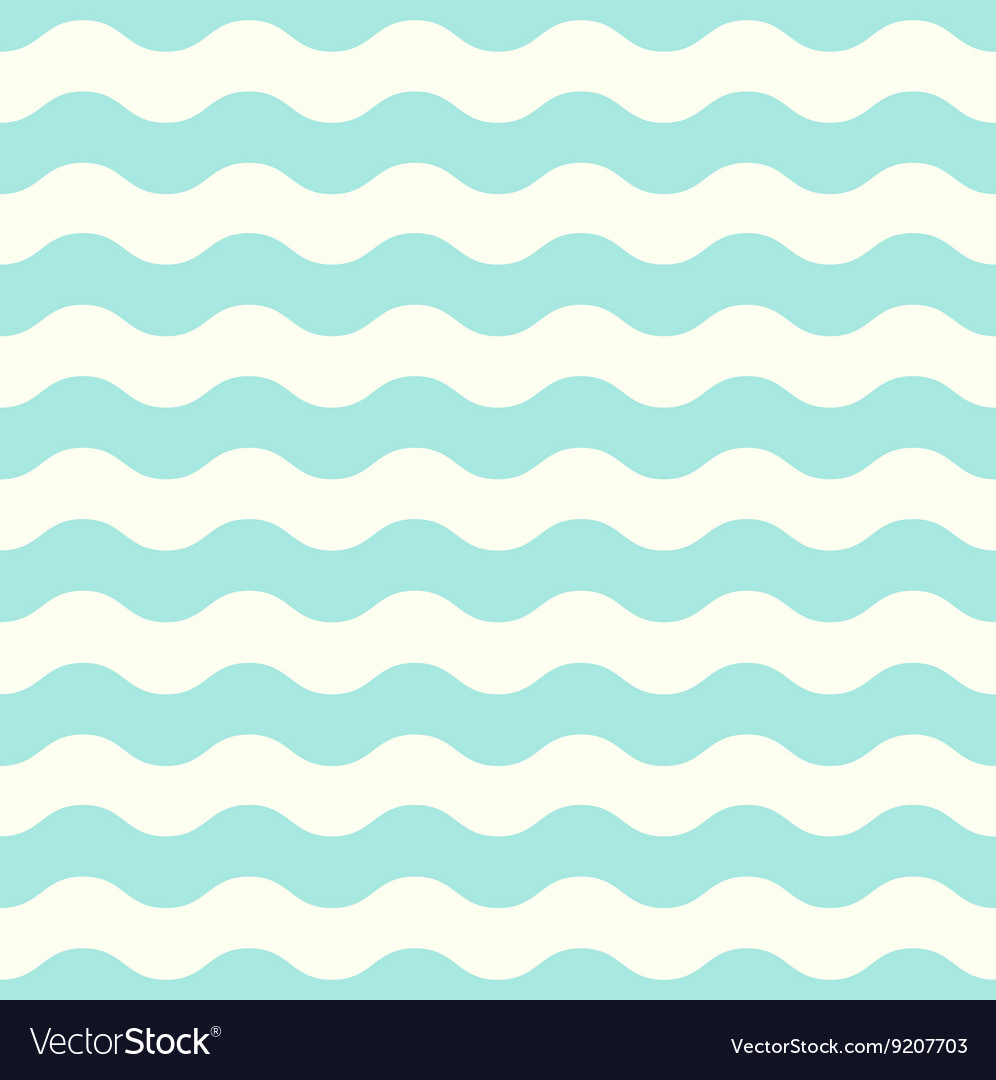 Pastel seamless retro wave pattern  mint vector