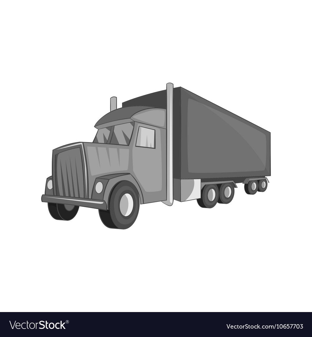 Semi trailer truck icon black monochrome style vector