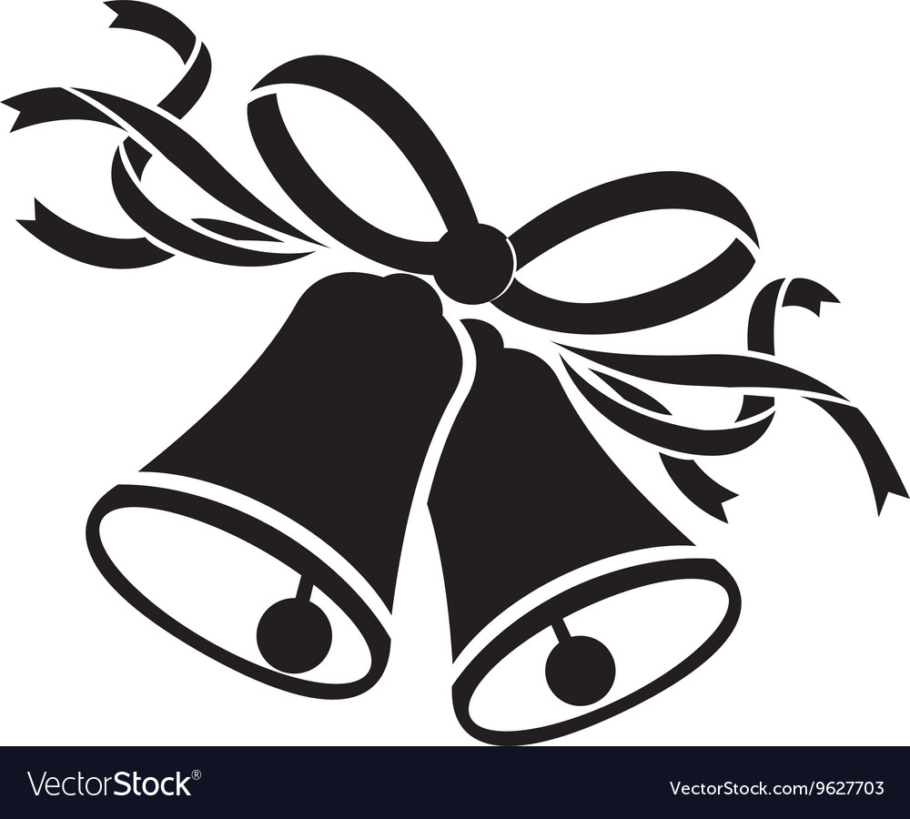 Wedding bells black vector