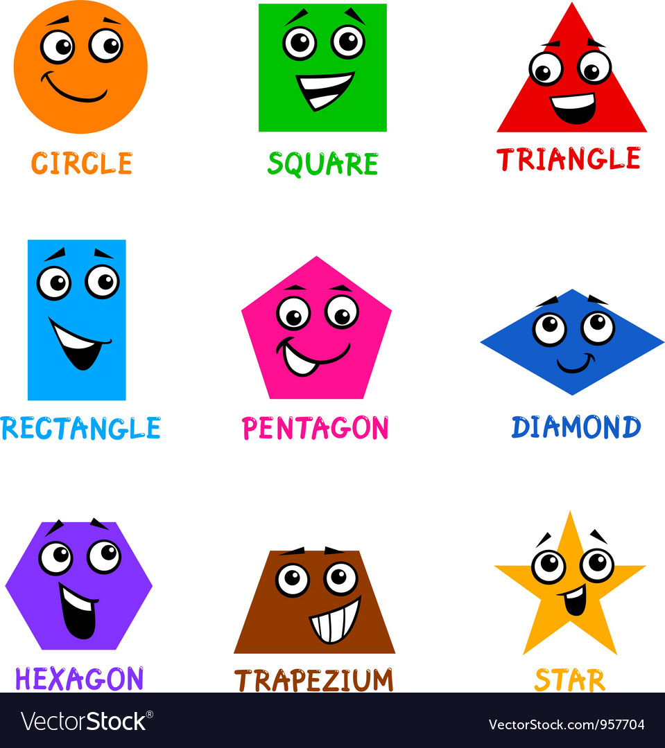 Basic geometric shapes with cartoon faces vector