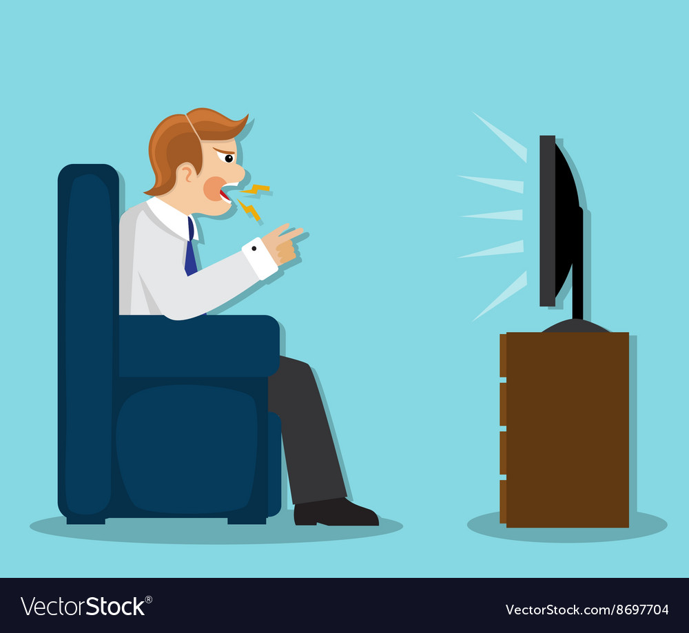 Evil man watches tv vector