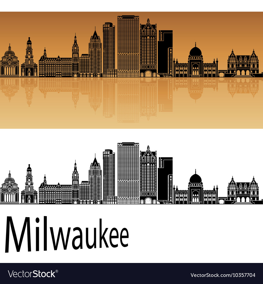 Milwaukee skyline in orange vector