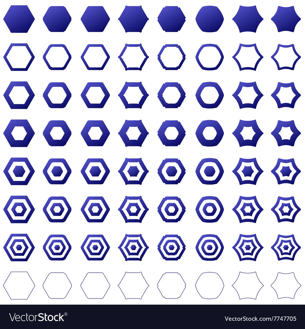 Blue hexagon icon template set vector