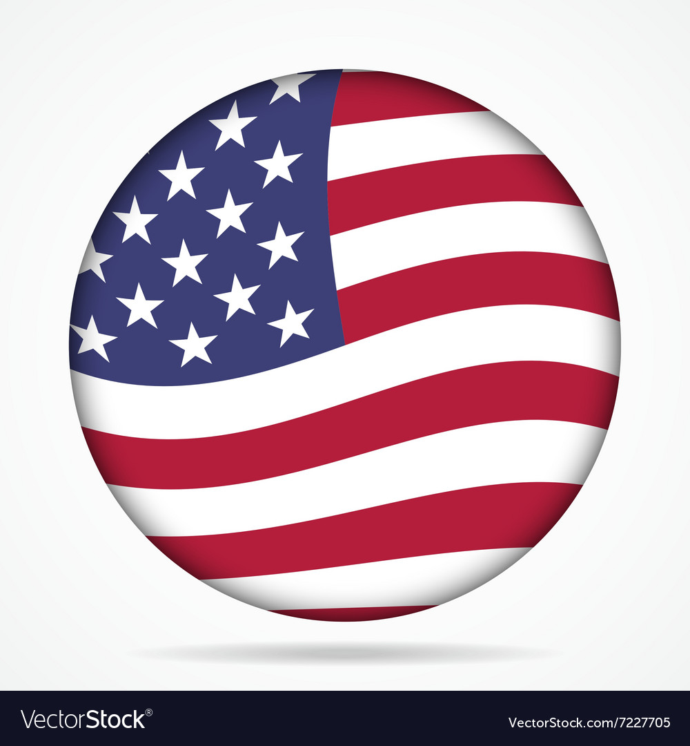 Button with waving flag of usa vector
