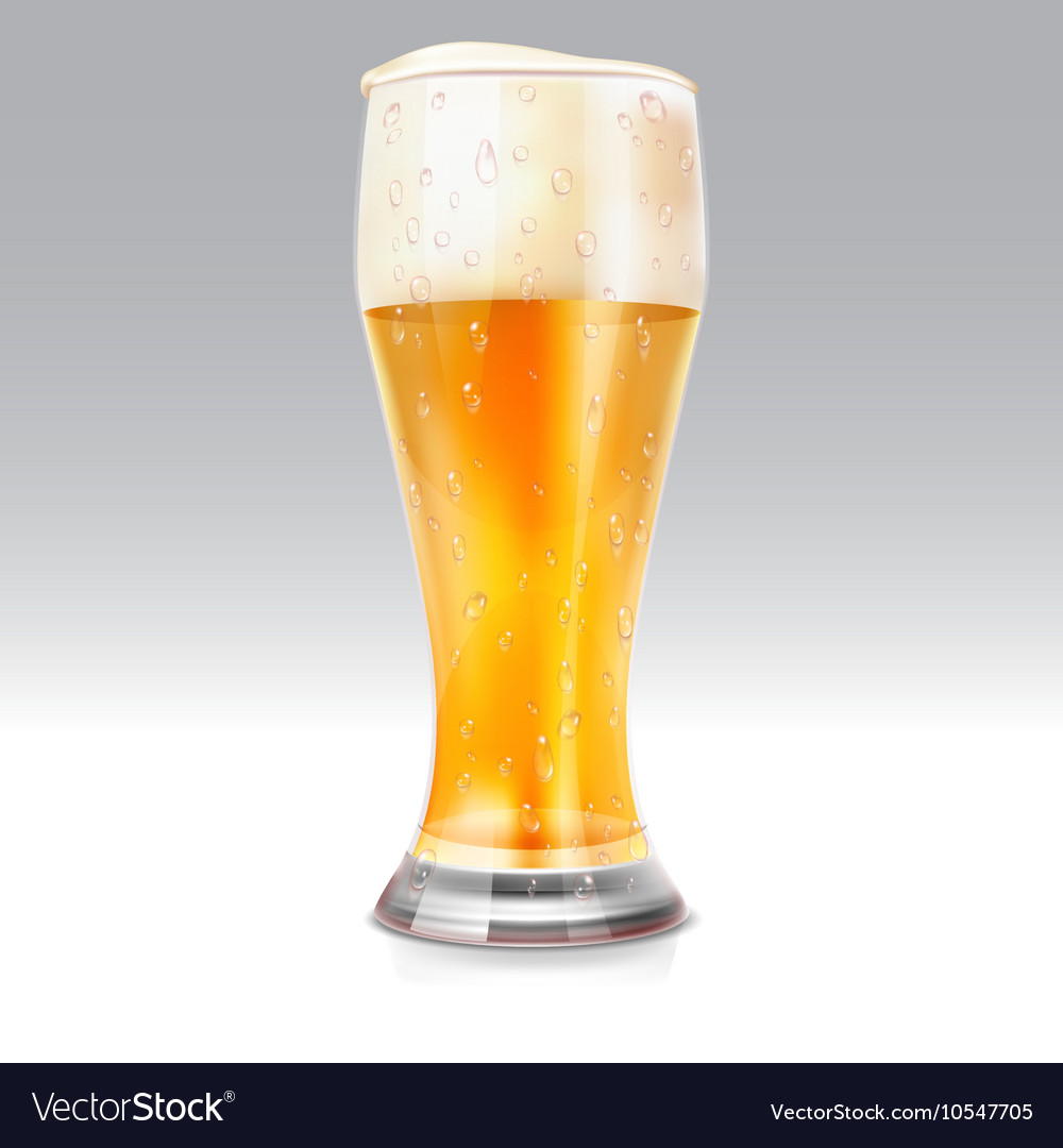 Realistic glass with light beer vector