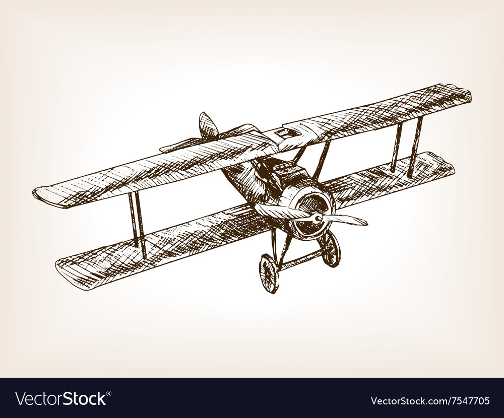 Retro airplane hand drawn sketch style vector