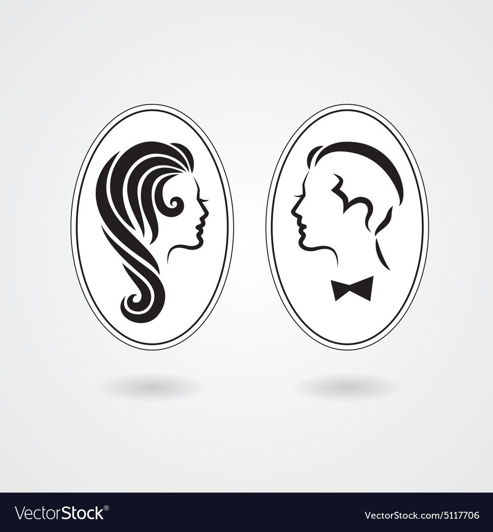 Elegant lady and gentleman symbol vector