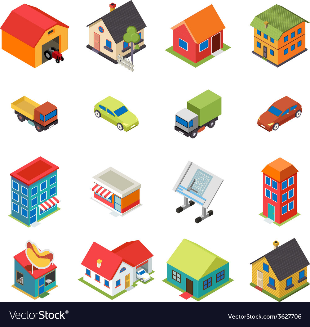 Isometric house real estate car icons retro flat vector