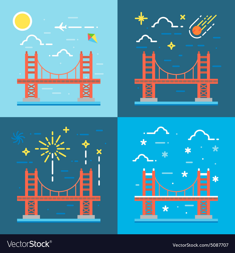 Flat design of golden gate vector