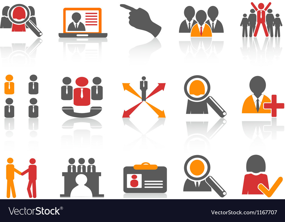 Job and human resource icons set vector