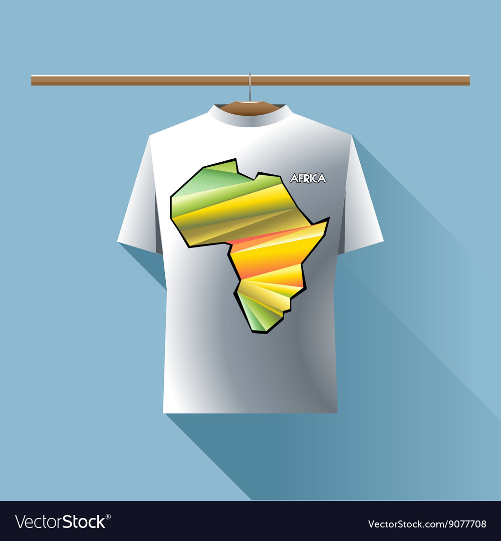 Abstract silver shirt with africa colored logo vector