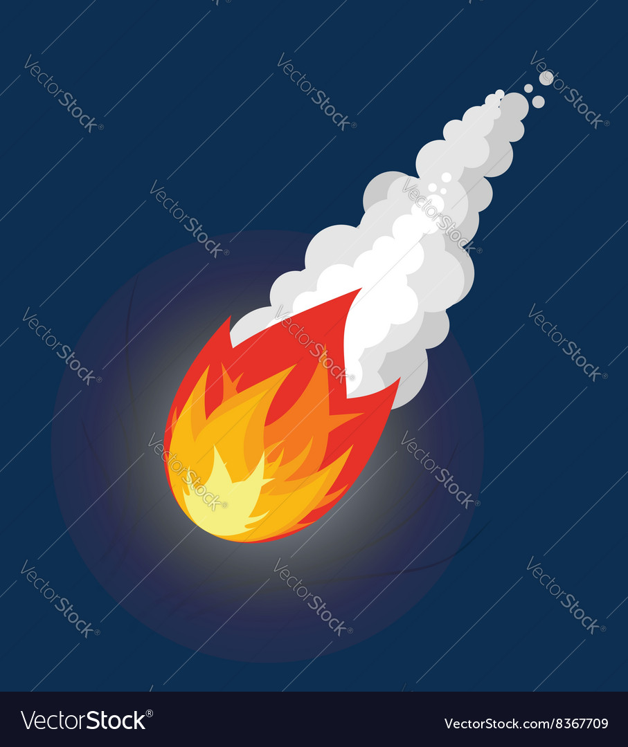 Flying meteor fireball with smoke flying comet in vector