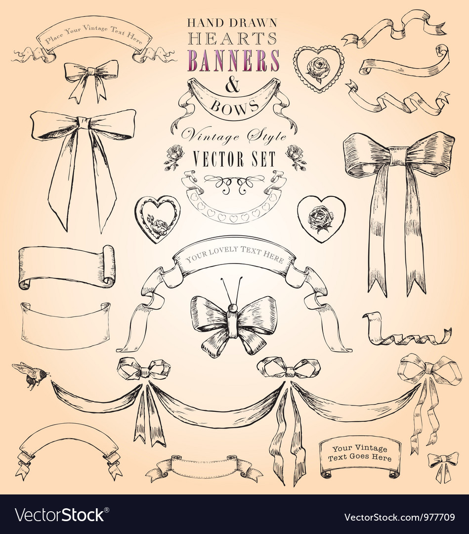 Hearts banners and bows set vector