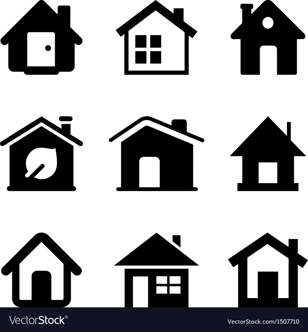 Black home icons vector