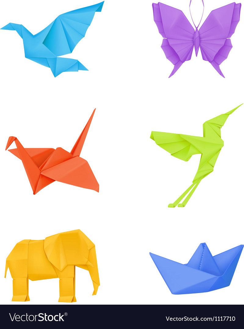 Origami set multicolored vector