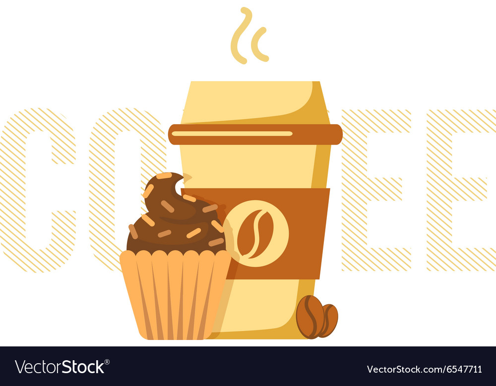 Coffee cup and muffin vector