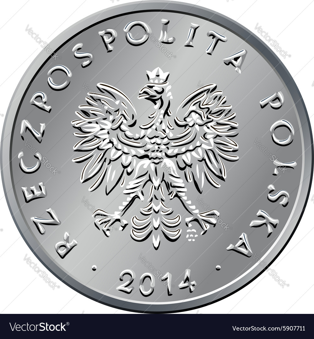 Obverse polish money one zloty coin vector