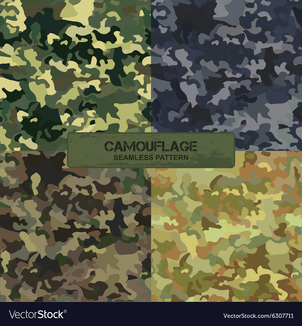 Set of original camouflage patterns seamless vector