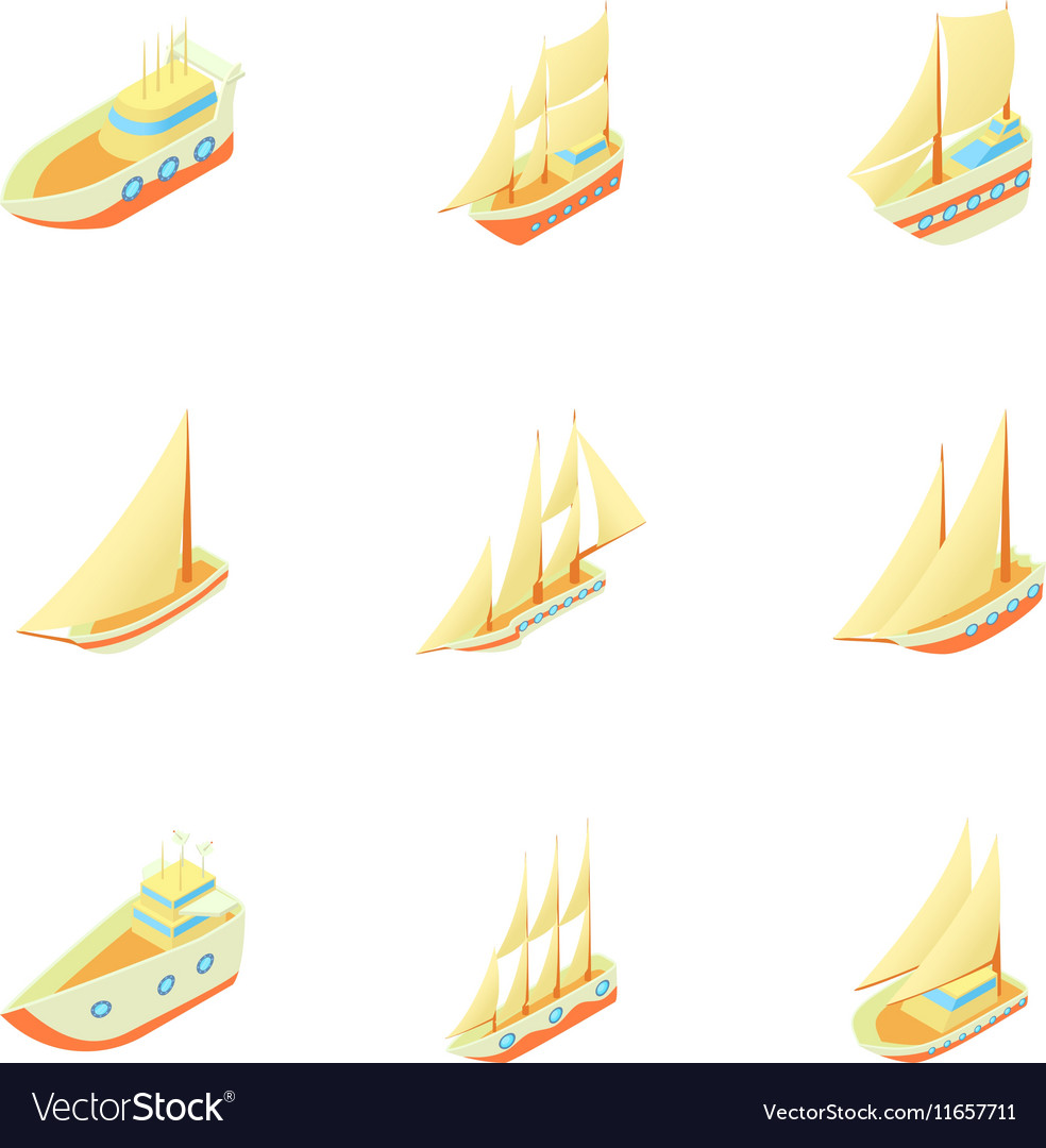 Yachts icons set cartoon style vector