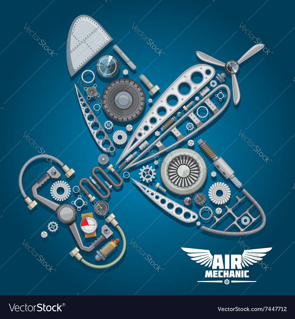 Air mechanic design with propeller airplane vector