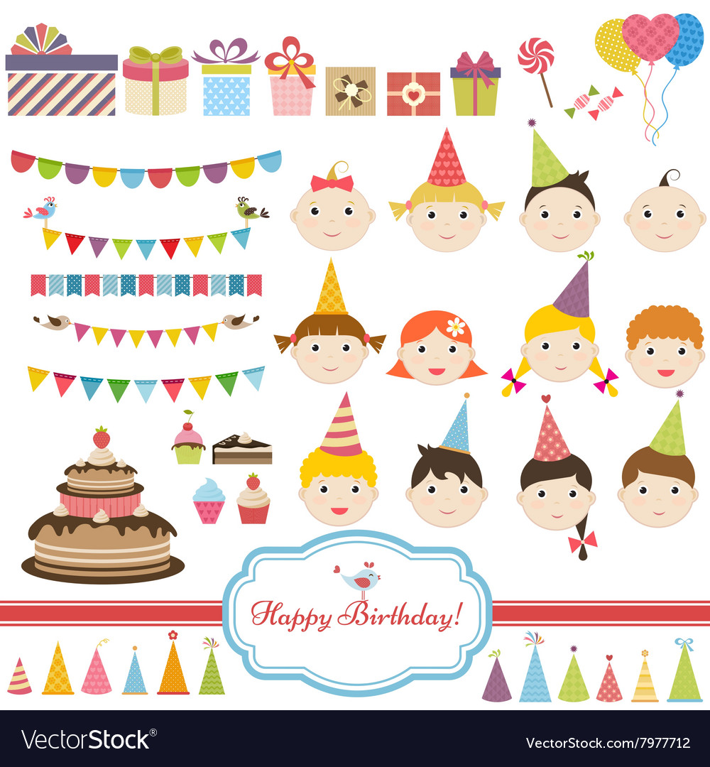 Birthday party set with children vector