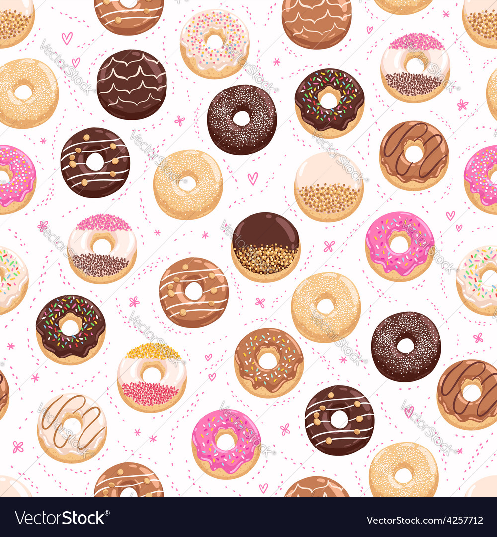 Donuts and little hearts seamless pattern vector