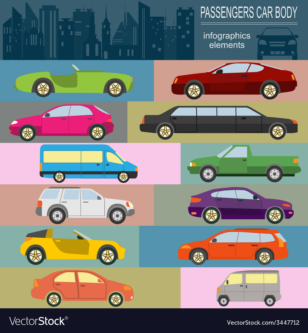 Passenger car transportation infographics vector