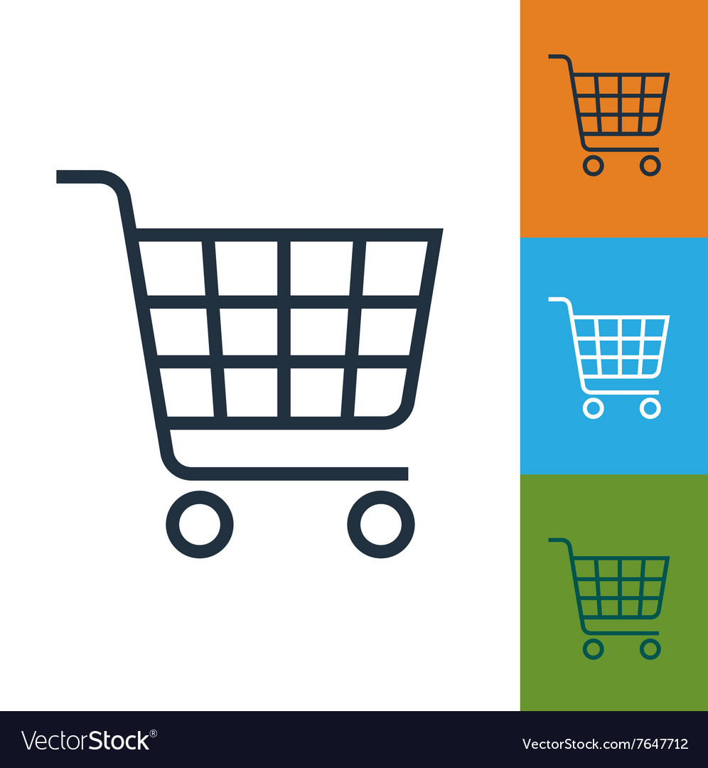 Shopping cart icon trolley isolated vector