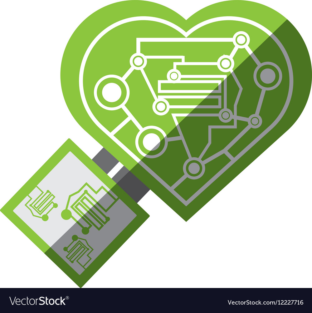 Computer circuit heart electronic component vector
