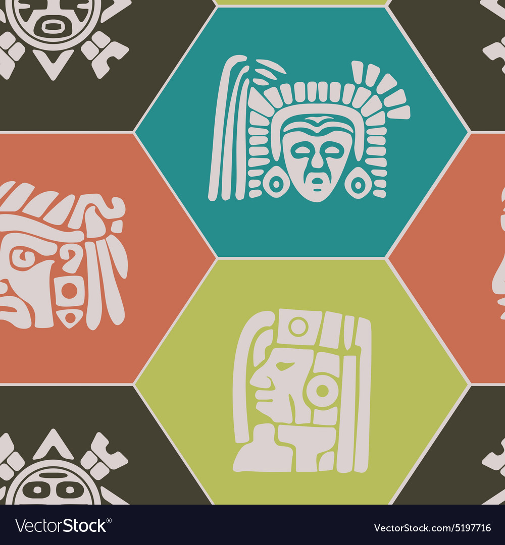 Seamless background with american indians relics vector
