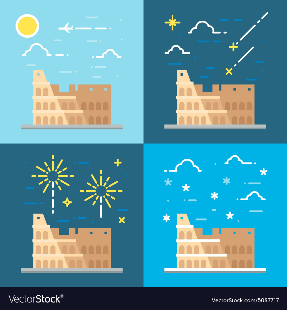Flat design of colosseum italy vector