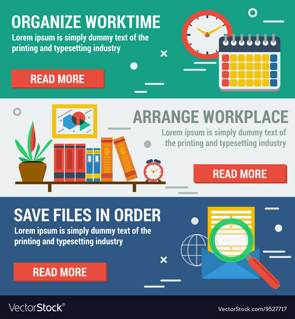 Three horizontal banners organize worktime vector