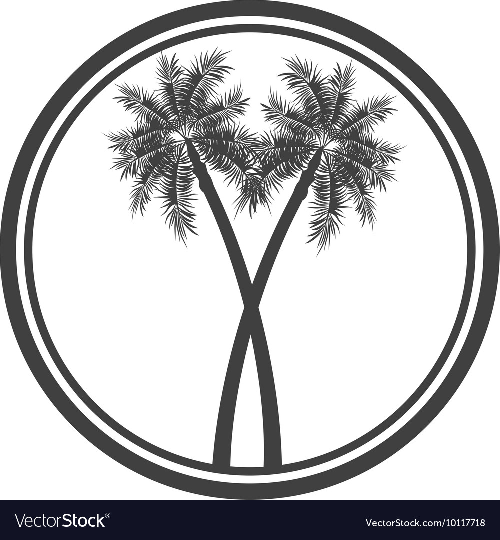 Palm tree emblem icon vector