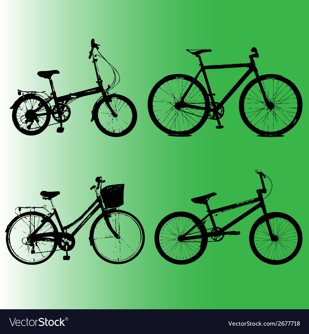Silhouettes element to bicycles vector