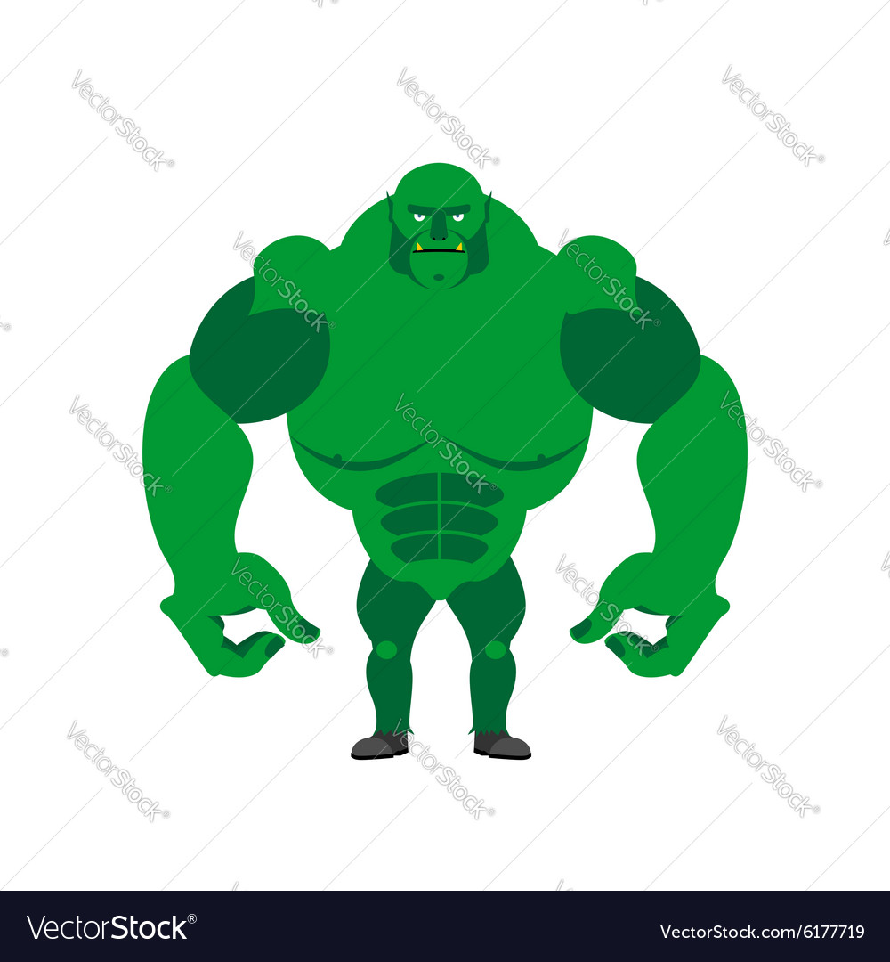 Green goblin on a white background strong monster vector