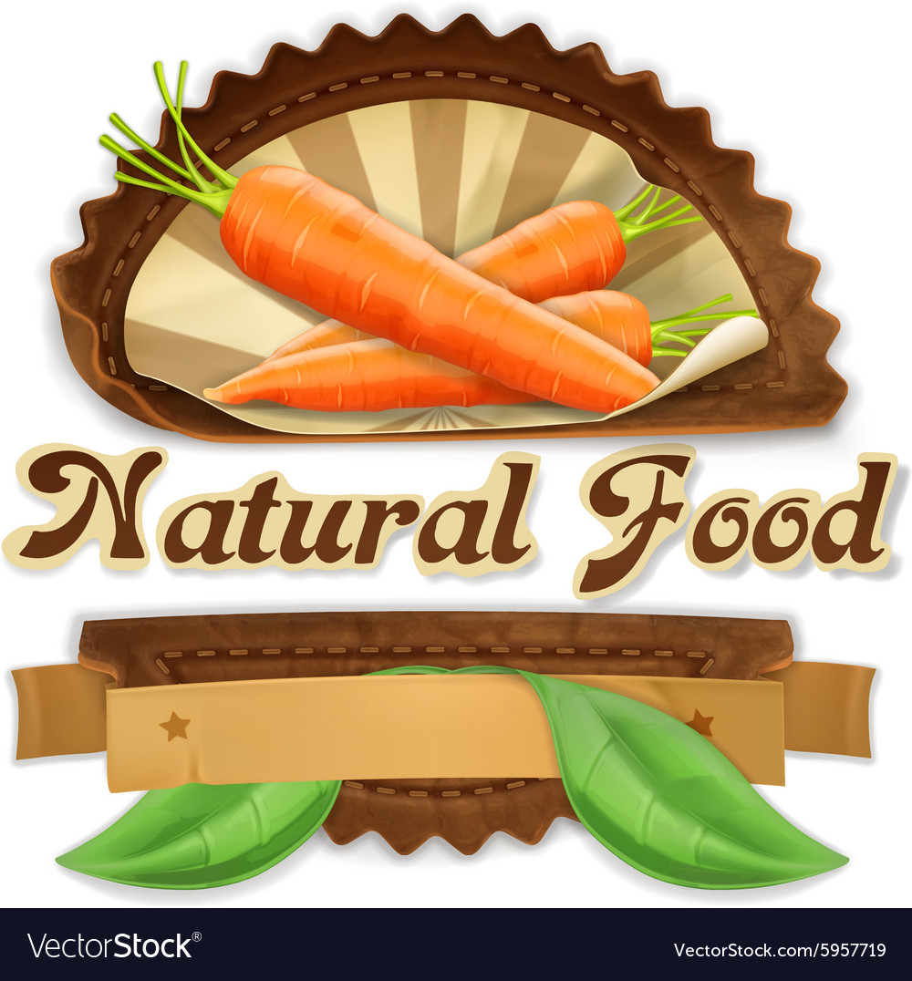 Juicy carrot label design vector