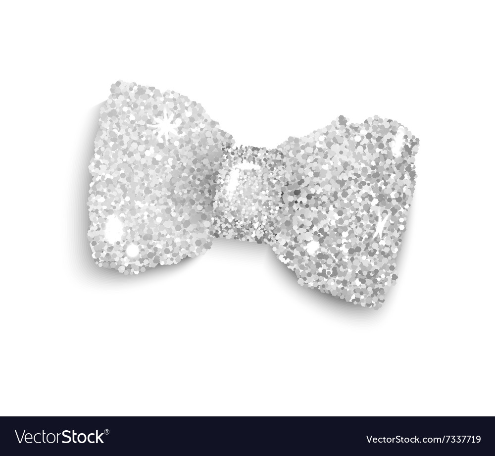 Silver sparkling glitter decorated bow trendy fash vector