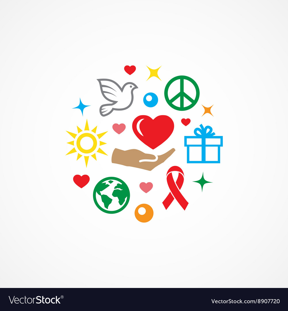Charity with icons vector