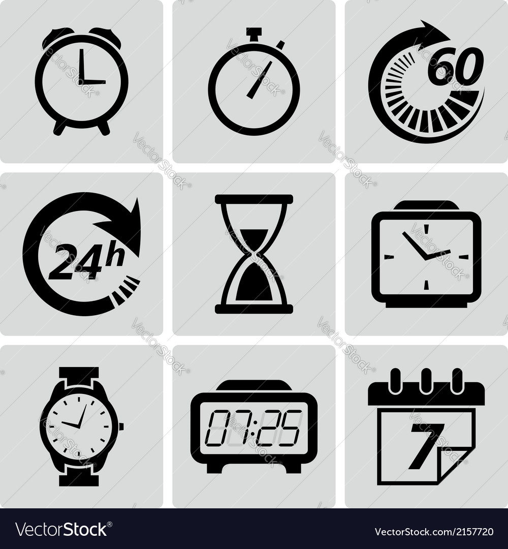 Clock and time icons set vector