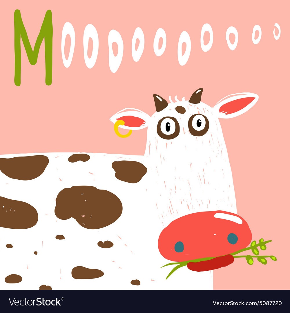 Curious stupid cow eating grass with vacant look vector