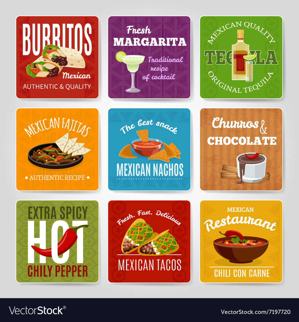Mexican food labels set vector
