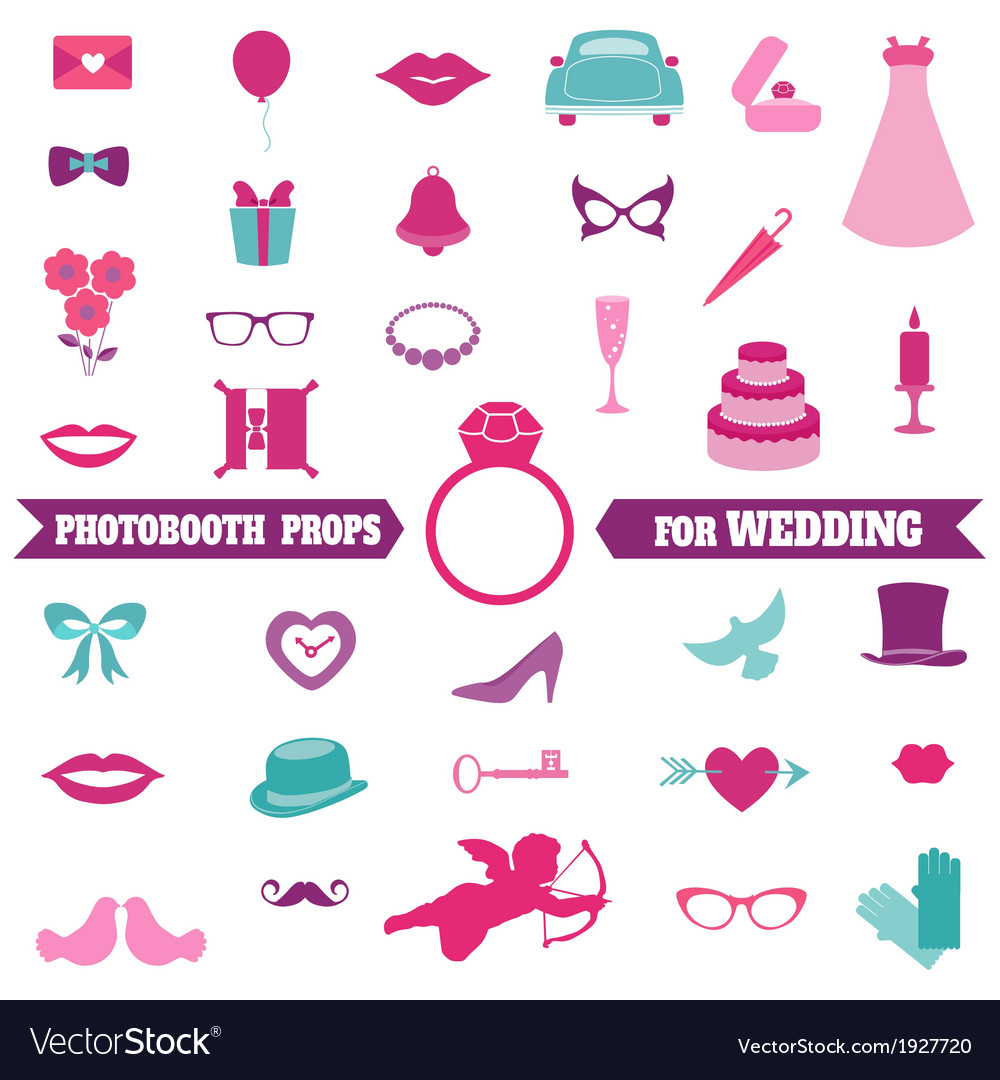 Wedding party set  photobooth props vector