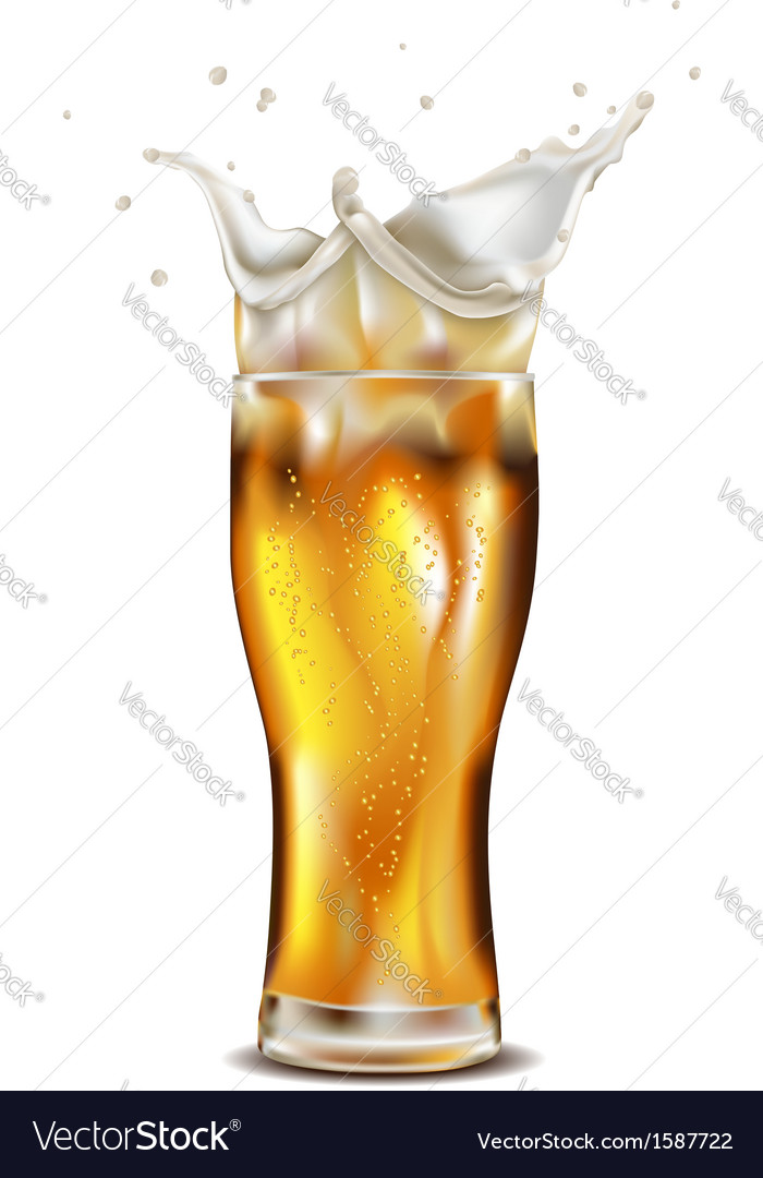 Glass of splashing beer vector