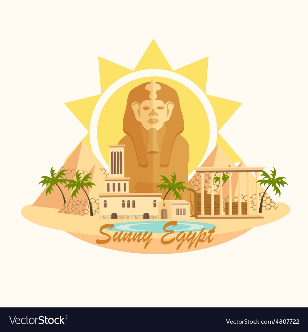 Pyramid sphinx egypt destination travel city vector