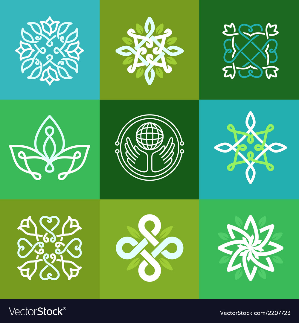 Abstract ecology symbols  outline emblems vector