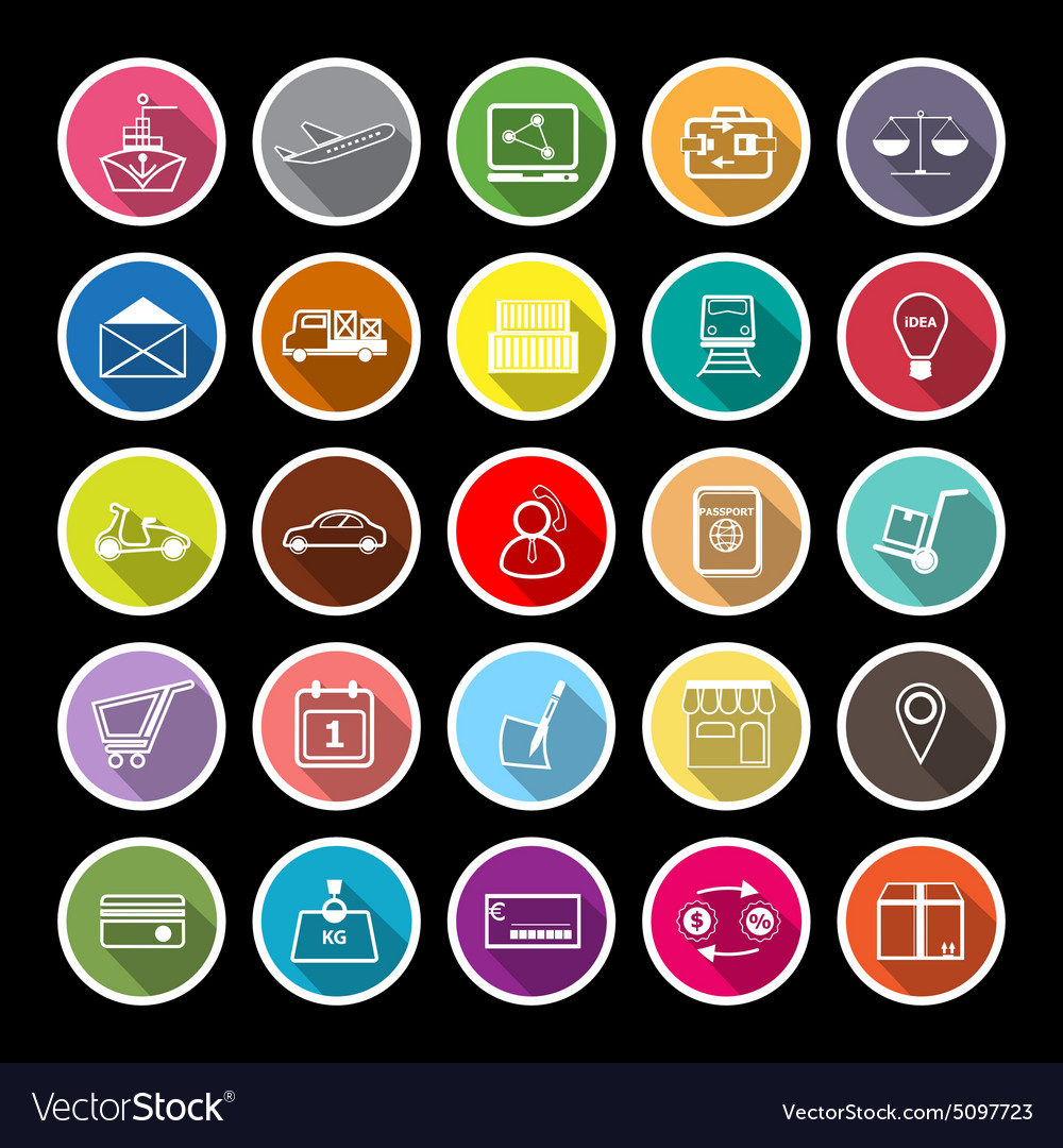International business line flat icons with long vector