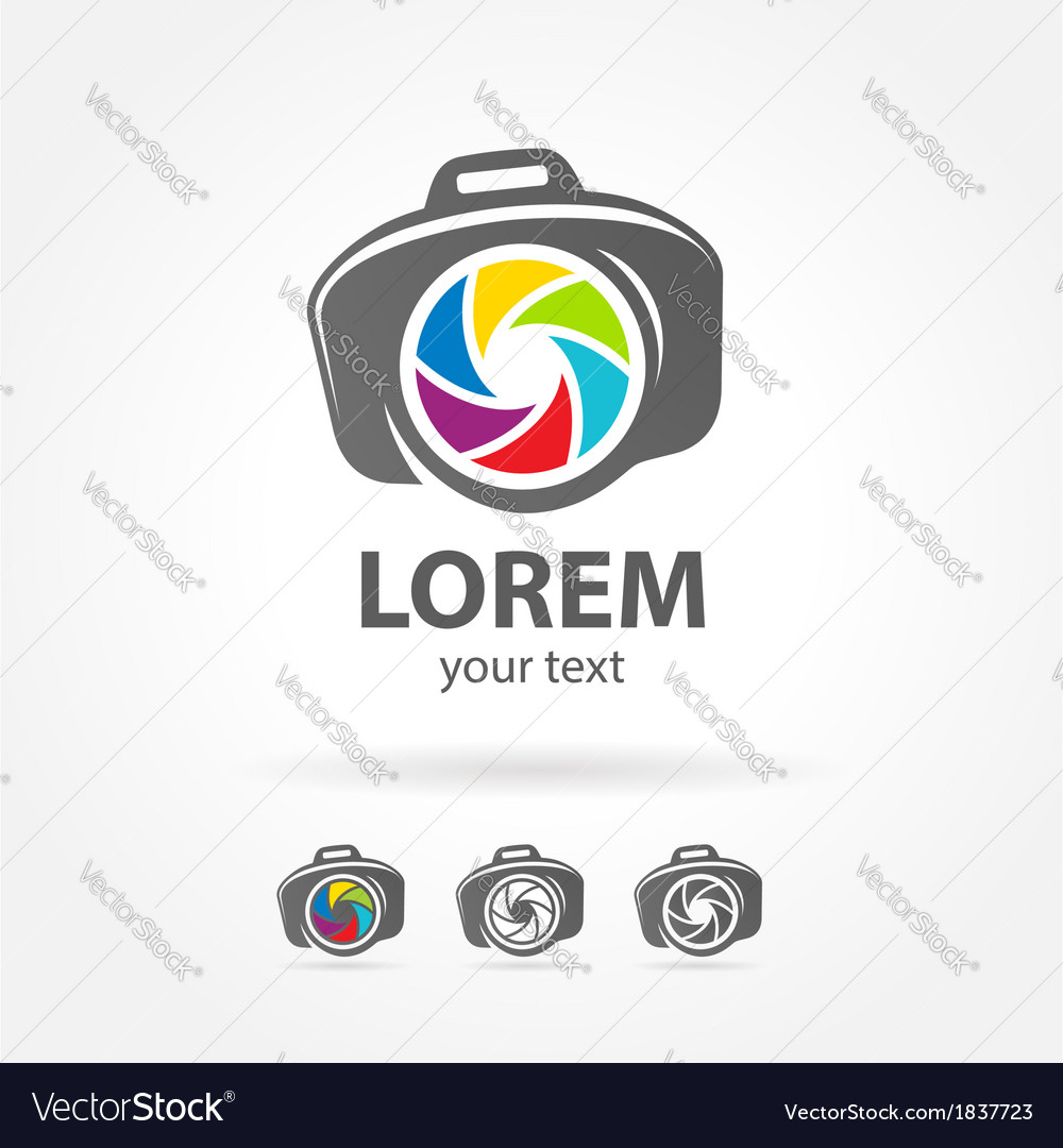 Photo camera emblem sign photography logo vector