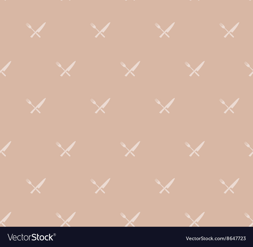 Seamless pattern with crossed knife and fork vector
